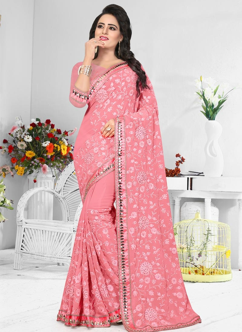 Embroidered Work Pure Georgette Traditional Saree