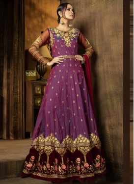 Embroidered Work Purple and Rust Raw Silk Long Length Salwar Kameez