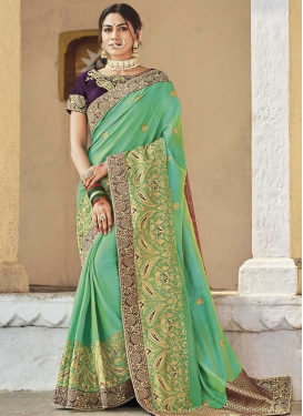 Embroidered Work Purple and Turquoise Trendy Classic Saree