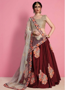 Embroidered Work Raw Silk Designer Classic Lehenga Choli