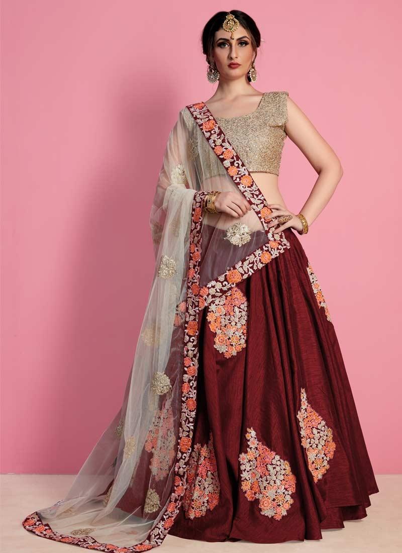 Embroidered Work Raw Silk Designer Classic Lehenga Choli