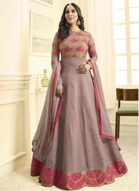 Embroidered Work Raw Silk Floor Length Anarkali Salwar Suit