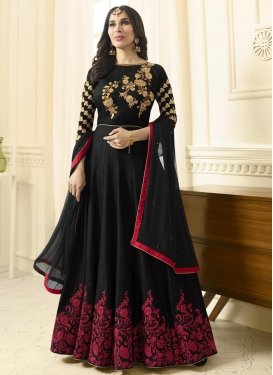 Embroidered Work Raw Silk Long Length Anarkali Suit