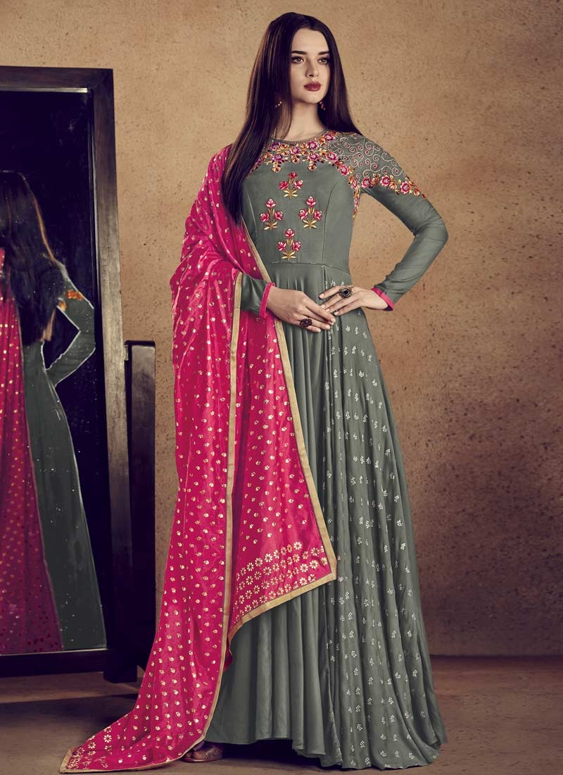 Embroidered Work Readymade Classic Gown For Festival