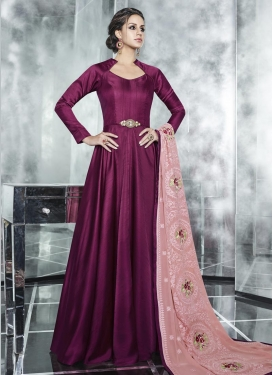 Embroidered Work Readymade Floor Length Gown