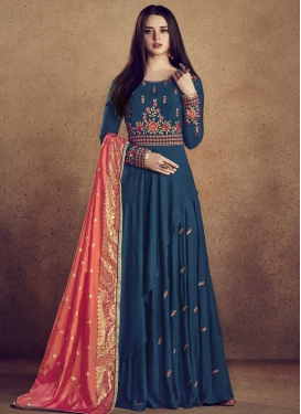 Embroidered Work Readymade Floor Length Gown For Ceremonial