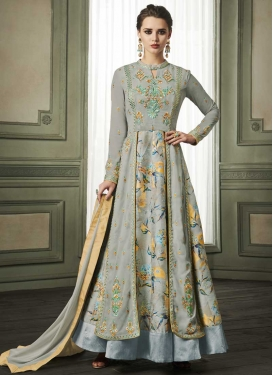 Embroidered Work Readymade Layered Gown