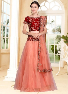 Embroidered Work Red and Salmon Trendy Designer Lehenga Choli