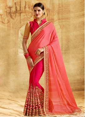 Embroidered Work Rose Pink and Salmon Half N Half Trendy Saree