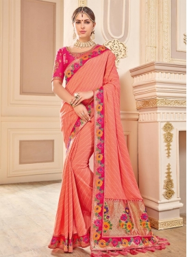 Embroidered Work Rose Pink and Salmon Traditional Saree