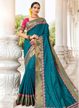 Embroidered Work Rose Pink and Teal Traditional Saree
