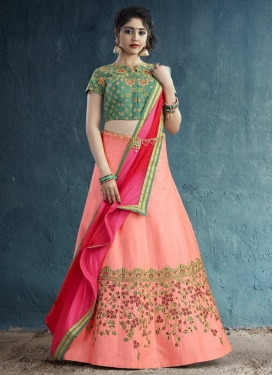 Embroidered Work Salmon and Sea Green Designer Classic Lehenga Choli