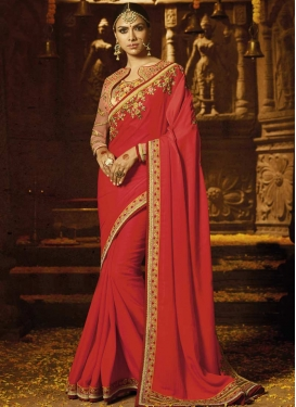 Embroidered Work Salmon and Tomato Classic Designer Saree
