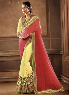 Embroidered Work Salmon and Yellow Half N Half Saree