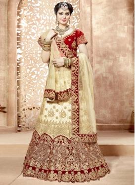 Embroidered Work Satin Cream and Red Trendy Lehenga Choli