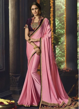 Embroidered Work Satin Designer Contemporary Saree
