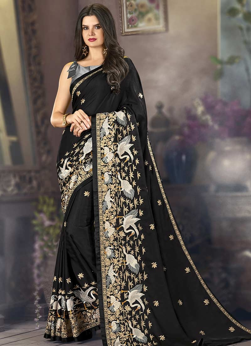 Embroidered Work Satin Designer Contemporary Style Saree For Ceremonial