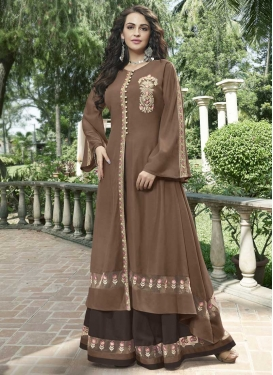 Embroidered Work Satin Floor Length Designer Salwar Suit