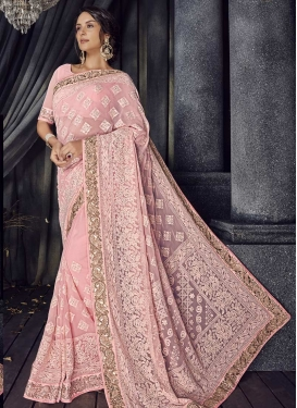 Embroidered Work Satin Georgette Contemporary Saree