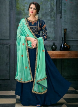Embroidered Work Satin Georgette Floor Length Designer Salwar Suit