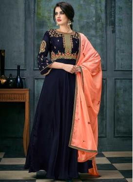 Embroidered Work Satin Georgette Long Length Anarkali Salwar Suit