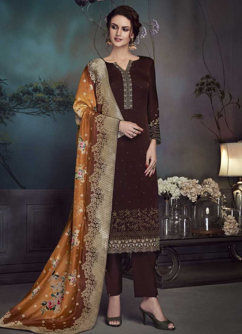 Embroidered Work Satin Georgette Pant Style Pakistani Salwar Suit