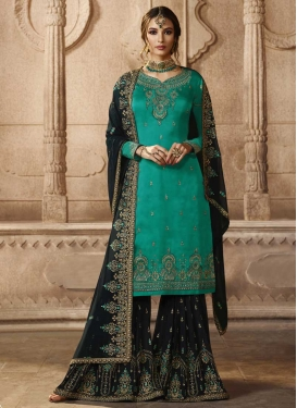 Embroidered Work Satin Georgette Sharara Salwar Suit