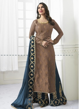 Embroidered Work Satin Palazzo Style Pakistani Salwar Kameez