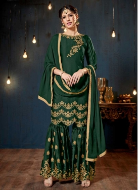 Embroidered Work Satin Sharara Salwar Suit