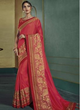 Embroidered Work Satin Silk Contemporary Saree