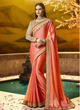 Embroidered Work Satin Silk Contemporary Style Saree