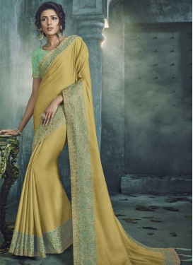 Embroidered Work Satin Silk Contemporary Style Saree