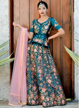 Embroidered Work Satin Silk Designer A Line Lehenga Choli