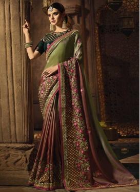 Embroidered Work Satin Silk Designer Contemporary Saree
