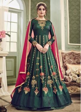 Embroidered Work Satin Silk Floor Length Anarkali Salwar Suit
