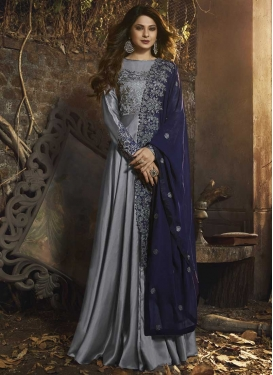 Embroidered Work Satin Silk Floor Length Designer Salwar Suit