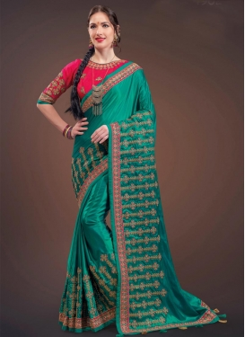 Embroidered Work Satin Silk Green and Rose Pink Trendy Saree