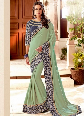 Embroidered Work Satin Silk Grey and Mint Green Designer Traditional Saree