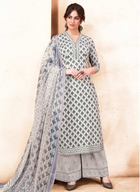 Embroidered Work Satin Silk Grey and Off White Palazzo Style Pakistani Salwar Kameez