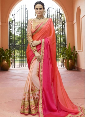 Embroidered Work Satin Silk Half N Half Saree