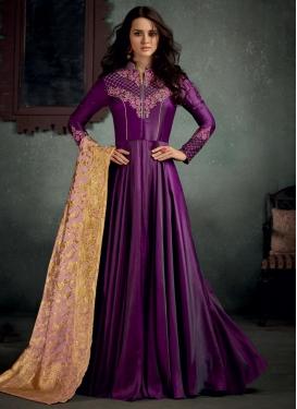 Embroidered Work Satin Silk Long Length Designer Suit