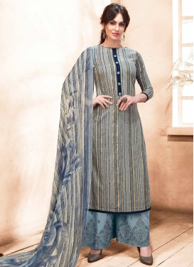 Embroidered Work Satin Silk Palazzo Style Pakistani Salwar Kameez