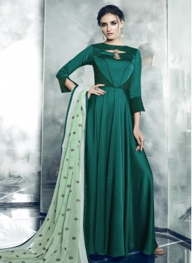 Embroidered Work Satin Silk Readymade Classic Gown
