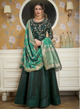 Embroidered Work Satin Silk Readymade Trendy Gown