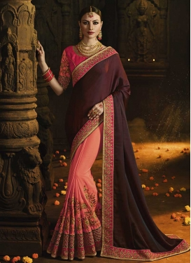 Embroidered Work Satin Silk Salmon and Wine Designer Half N Half Saree