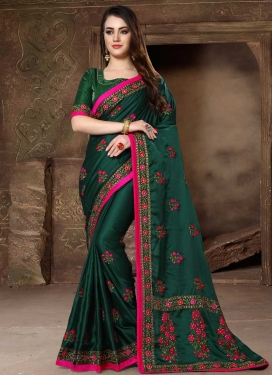 Embroidered Work Satin Silk Traditional Designer Saree