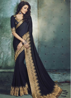 Embroidered Work Satin Silk Traditional Designer Saree For Ceremonial