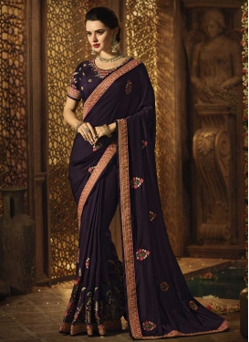 Embroidered Work Satin Silk Traditional Saree