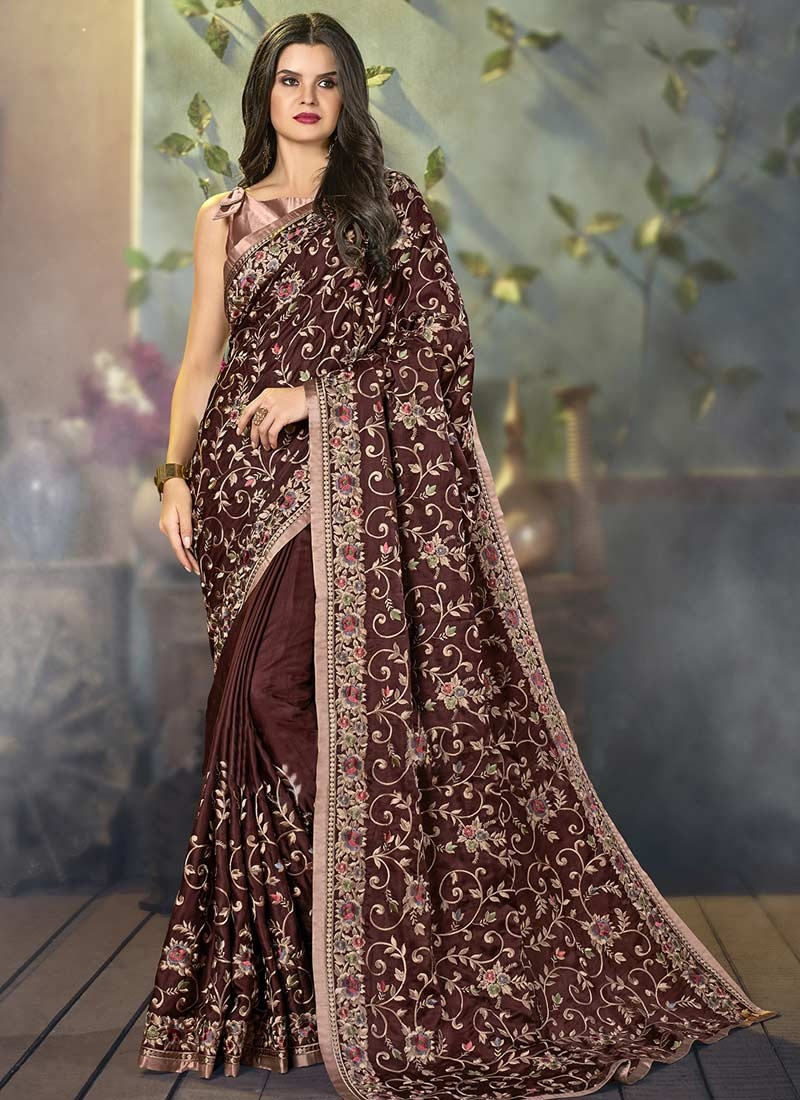 Embroidered Work Satin Silk Trendy Classic Saree For Festival
