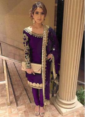 Embroidered Work Satin Silk Trendy Designer Suit